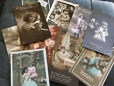 Collection of 10 vintage French/English postcards - Children- 1910s-1930s