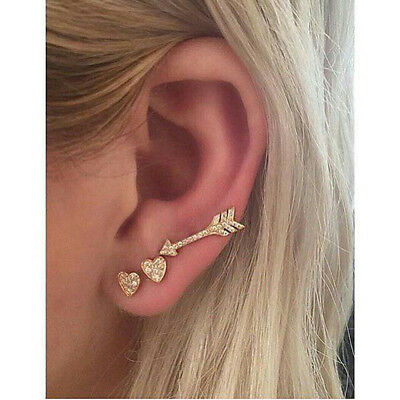 Ladies Minimalist Earrings Arrow Heart Pattern Ear Studs Casual Chic Jewelry RU