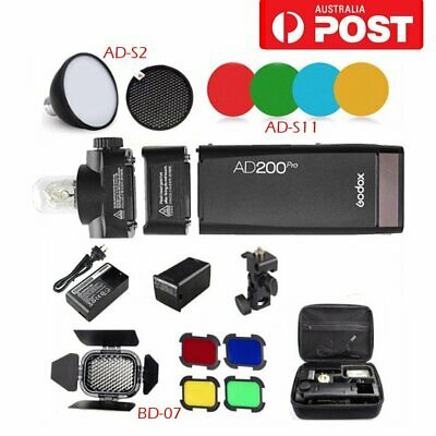 AU GODOX AD200pro 2.4G TTL Speedlite Flash+Honeycomb Grid+Reflector+Color Filter