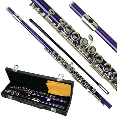 New Standard Purple School Band Student 16 Closed C Flute with Case&Accessories