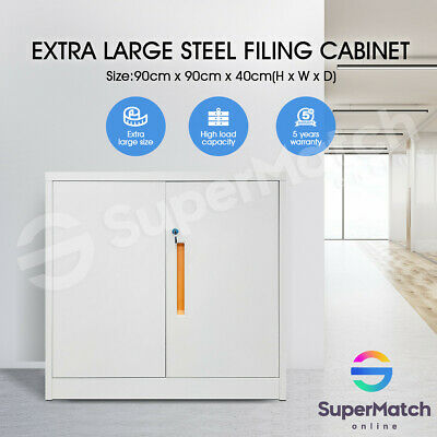 Steel Stationery Cabinet 2 Metal Doors lockable Cupboard w/Adjustable Shelves WH