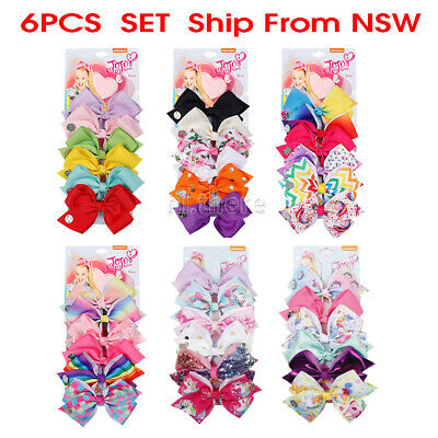 6pcs Signature Jojo Siwa Bows Girls Fashion Hair Accessories Cheerleader Haiclip