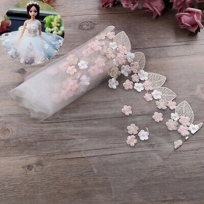 Floral Tulle Lace Trim Ribbon Fabric Flower Embroidery Wedding Sewing 91.4cm