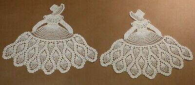 Pair Of Beautiful Antique Crocheted Crinoline Lady Doilies Like New
