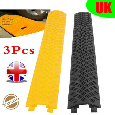 3pcs Heavy Duty Single Channel Rubber Speed Bump Cable Layout Protective Cover