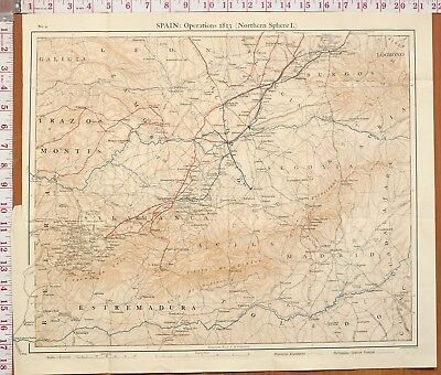 Map/Battle Plan Spain Operations 1812 Northern Sphere Salamanca Valladolid