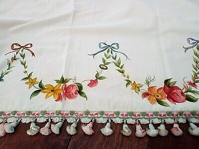 Vintage French Hand Painted Pelmet  - Velvet - Wall Hanging