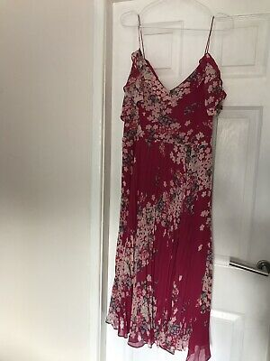 f3928076b0c1 OASIS Gorgeous Pink/White Oriental Blossom Print Midi Dress size 8 worn once