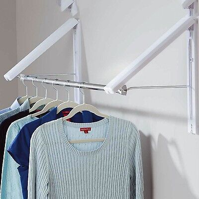 2 x Folding Wall Mounted Retractable Laundry Rack Portable Clothes Coat Hanger