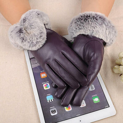Ladies Women Leather Gloves Soft Rabbit Fur Cuff Outdoor Touch Screen Warm Glove