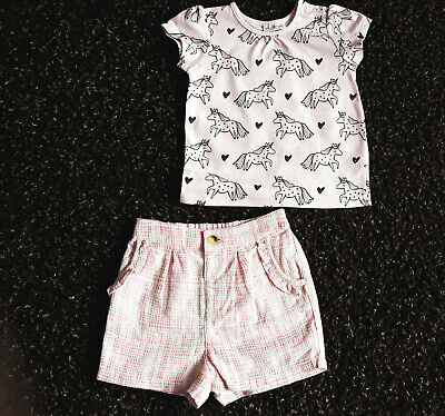 M&S Baby Girls Pink Shorts & Next Top Age 6-9 Months BNWT