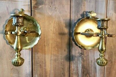 Vintage Brass Pair Gimbal Ship Nautical Candlesticks Wall Sconce Candle Holder
