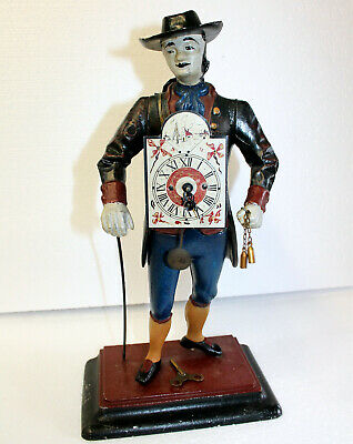 ** Old  Table Clock,Dutch clock in metal *The man of the hour*