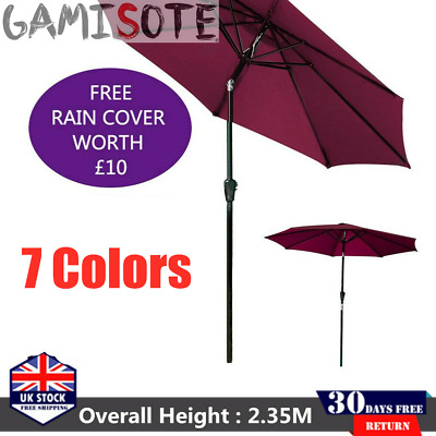 2.7M Round Garden Parasol Umbrella Patio Outdoor Sun Shade Aluminium Crank Tilt