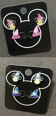 2 pair set Disney Magician Mickey or Minnie Mouse Small Ear Stud Earrings New