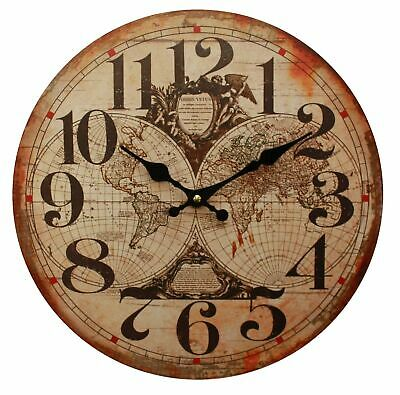 Delightful decorative old world map style quartz wall clock for all indoor use