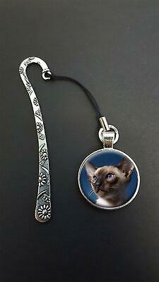 Siamese Cat Pendant On a Metal Design Bookmark Ideal Birthday Reading Gift N49