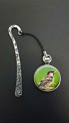 Sparrow Bird Pendant On a Metal Design Bookmark Ideal Birthday Reading Gift N57