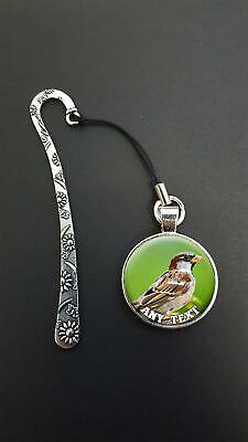 Personalised Sparrow Bird Pendant On a Metal Bookmark Ideal Birthday Gift N57w