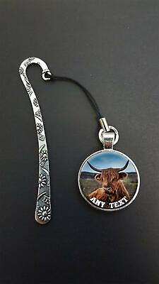 Personalised Highland Cattle Pendant On a Metal Bookmark Ideal Birthday Gift N63