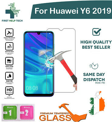 For Huawei Y6 2019 Tempered Glass Screen Protector Guard Genuine Cover New