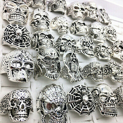 30pcs Top-quality Gothic Punk Assorted Wholesale Lots Skull Bikers Men's Rings