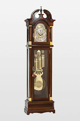 Guildhall Grandfather Traditional Style Floor Clock in Walnut finish H86 x W23