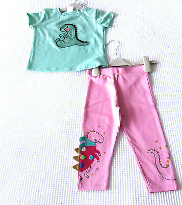 Next Baby Girls Adorable Green Dino Top & Matching Leggings Age 12-18 Mnths BNWT