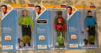 Mego 2019 Star Trek SET Kirk & Spock Trouble w/ Tribbles and Glow Accents GORN