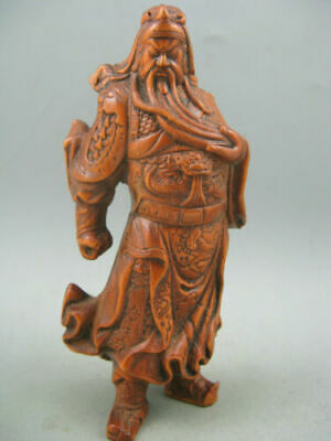 Antique Old Chinese Boxwood Hand Carved GuanGong 关公 Statue Calligraphy