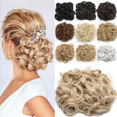 Lady Elastic Scrunchie Messy Bun Chignon Curly LARGE THICK Hair Extension Blonde