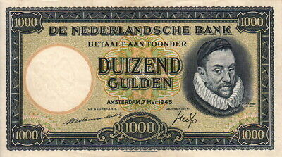 1000. Gulden the Bank of Nederlands 1945