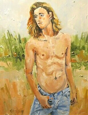 "original oil painting, ""SHIRTLESS BOY IN JEANS"" gay art, 2019"