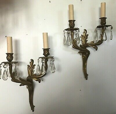 Antique pair brass double socket electric wall sconces prisms Louis XV style #2
