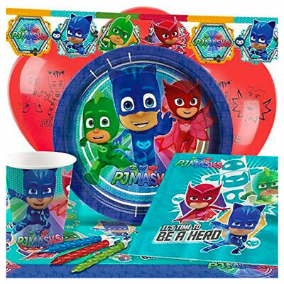PJ Masks Party Tableware Children's Birthday Party Complete Kit's for 8,16,24,32