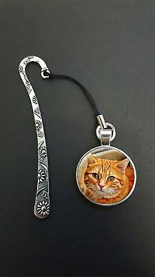Ginger Cat Pendant On a Metal Design Bookmark Ideal Birthday Reading Gift N89