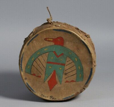 Native American Hand-Made & Painted Plains Drum / Indian Folk Art 1930's