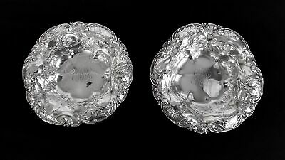 Pair Of Art Nouveau Whiting Co 6507 Hibiscus Sterling Silver Bonbon Candy Bowls