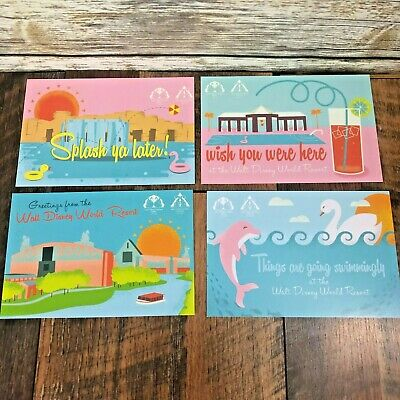 Set of 4 Walt Disney World Swan & Dolphin Resort Postcards Marriott Art