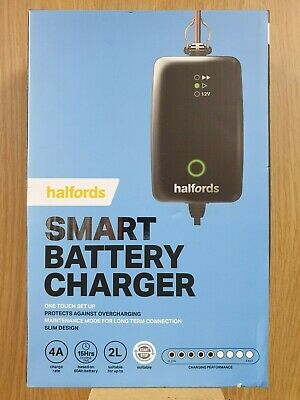 Brand New Halfords Smart Battery Charger For 12V Vehicles Up To 2L
