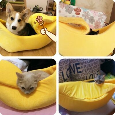 Pet Bed Banana House Cat Warm Dog Shape Puppy Sleeping Nest Soft Fluffy Kennel