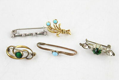 5 x Antique & Vintage Small BROOCHES inc. Paste, Stone Set, Gold Tone, Turquoise