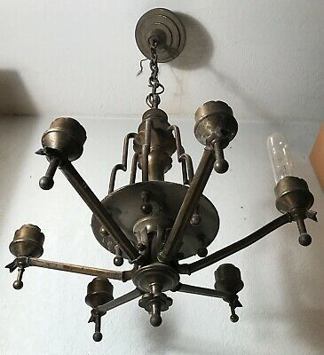 Antique brass Art Deco five socket light fixture ceiling chandelier 1940s