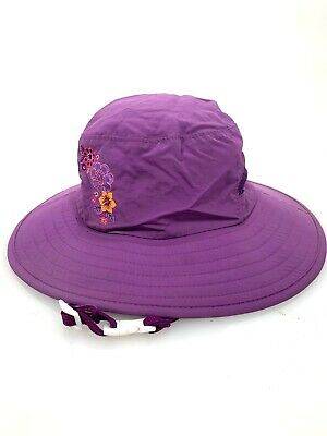 9244e4dfd6846c Girls REI Nylon Sun Hat 4-7y Purple Flower Embroider Chin Clip Adjustable  Repels