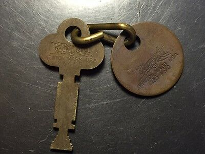 GAMEWELL part 25460 Marked BRASS KEY AND TAG Fire Alarm Box Police Call