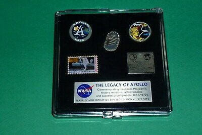 Official Nasa Boxed Pin Set With Parts That Have Flown To The Moon Ltd Ed.