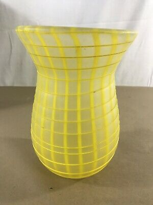 "Glass Vase Clear Yellow Swirl Square Decor 7"" Tall B11"