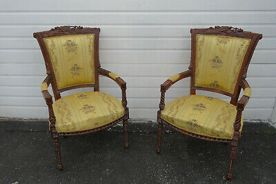 French Heavy Hand Carved Violin Vintage Pair of Side Living Bed Room Chairs 9769