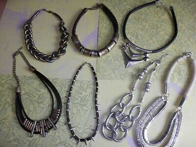 Job Lot of Jewellery 7 Statement Necklaces Silver & Gold Tone Metal Leather Rope