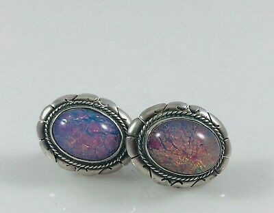Vintage Mexican RMS Sterling Silver & Glass Cabochon Fire Opal Earrings